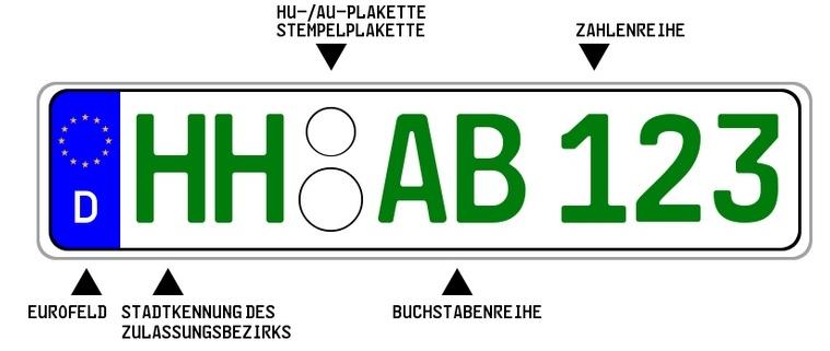 Grünes KFZ-Kennzeichen